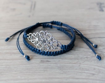 Blue friendship bracelet set Macrame bracelet BFF bracelet Macrame jewelry Girlfriend gift Gift sister Gift best friend