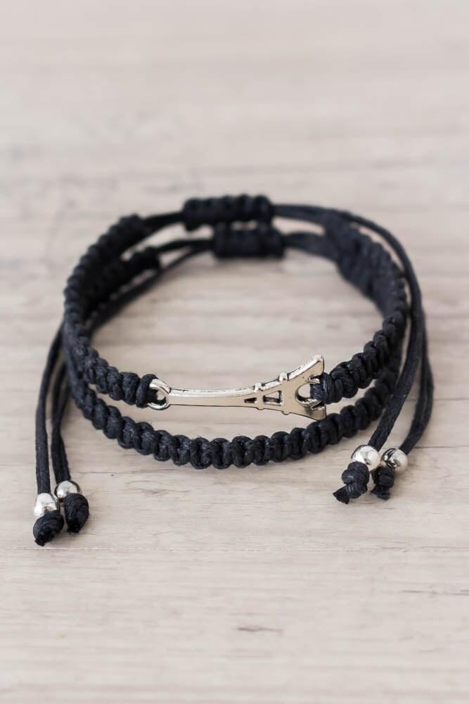 black eiffel tower bracelet set macrame bracelet