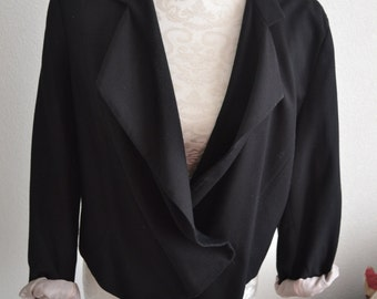 Vintage draped black blush pink blazer jacket