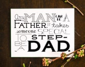 Father's Day Card, Blank Step Dad Card, Greeting Card, Step Father Card, Blank Card