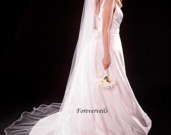 Wedding veils for sale Cathedral Wedding Veil 1 Tier long flowing white, ivory, diamond white satin edge raw edge