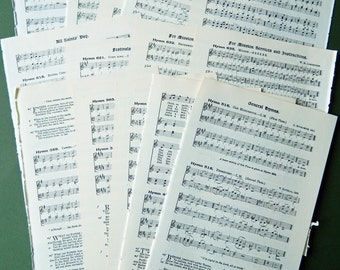 Hymn Music Book  Pages - Vintage 1920s.  Scrapbooking, Paper Ephemera, Mixed Media, Collage Supply