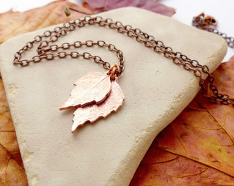 Autumn Leaves Copper Necklace - Birch Leaf Pendants on Copper Chain - Copper Leaf Jewelry - Woodland Jewellery - Rustic Necklace
