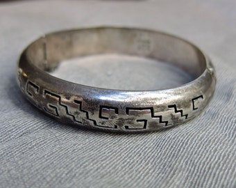70s Mexican Sterling Silver Bangle Bracelet