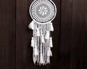 White dreamcatcher, wall hanging, crochet doily, large, long, handmade, snowfall, doily dream catcher, wedding, boho, bedroom, wall decor
