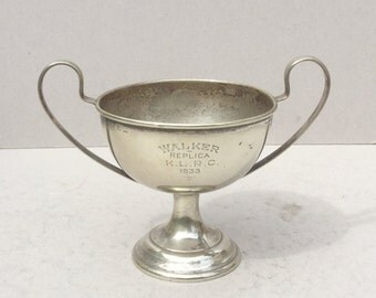 Antique silver plated trophy cup, 1933 Walker Replica Cup, Sports trophy cup, Award, Loving cup