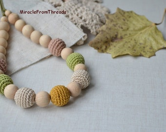 Teething necklace,Nursing necklace, Neutral color ,Breastfeeding necklace, For new mom baby, Safe ecofriendly, Crochet beaded Brown