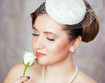 Cream Bridal Pillbox Hat Fascinator with Birdcage Veil - Birdcage Veil and Beaded Lace - Ivory Cocktail hat