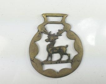 Vintage Deer Antler Brass Medallion
