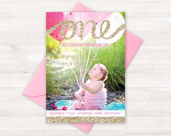 First Birthday Invitation, One Gold Glitter, Birthday Invitation Kids, Pink Gold Invitation, Girl Photo Invite, Pink Gold Birthday Party