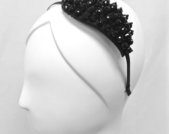 Headband with Black Bead Appliqué, ONE OF a KIND