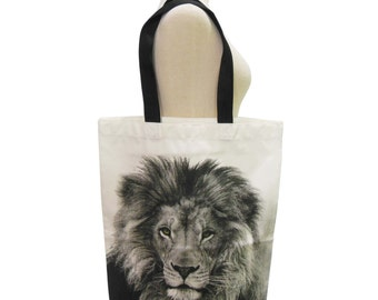 Lion Canvas Bag Lion Animal Tote Bag Screen Print Handmade