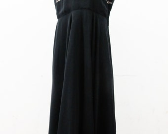 1930s Volup Silk Chiffon Tea Dress with Ruched Bodice and Handmade Lace Trim