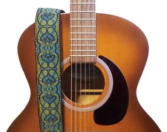 Hemp Guitar Strap - Teal Paisleys Woven Ribbon on Organic Hemp Webbing - Vintage Style Strap - Acoustic, Electric and Bass Guitars