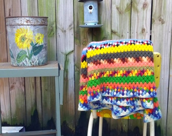 60s Handmade Crocheted Afghan Multicolor Granny Rectangle