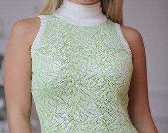"Summer openwork knitted dress ""Mojito"" made of viscose, pleasant to the skin and gently. Midi dress"