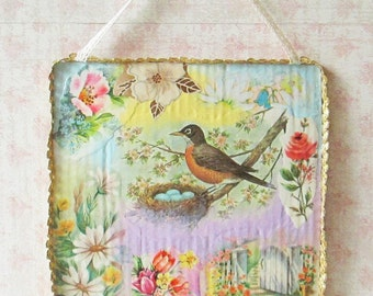 Floral Bird Collage / Wall Hanging / Cardboard / Shabby Chic