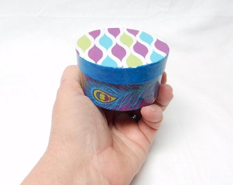Peacock print Mini Round Trinket Box, peacock feathers box, multi purpose box, keepsake box, treasure box, decorative box, decoupaged box