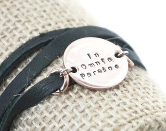 In Omnia Paratus - Black Leather - Bracelet - Ready for Anything - Wrap Bracelet