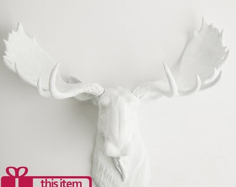 Faux Taxidermy Moose Head Wall Mount, The Edmonton by White Faux Taxidermy Animal Decor