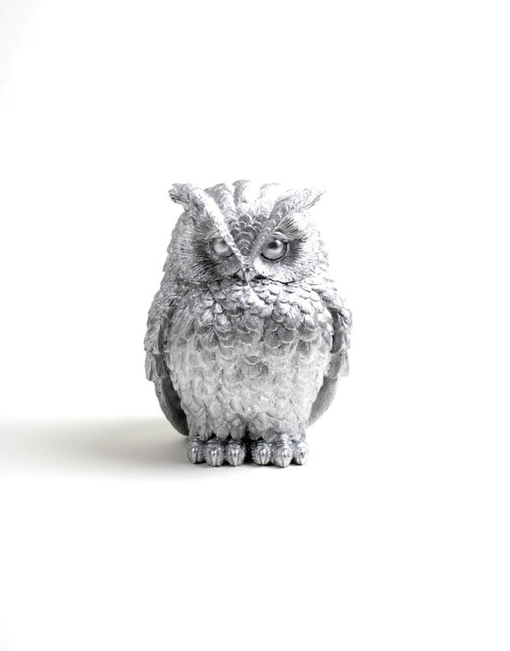 Owl home decor the chubby little silver owl silver barn for Owl decorations for the home