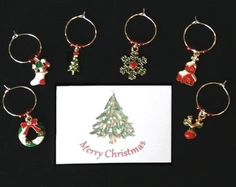 WINE CHARMS CHRISTMAS themed set of 6 with their own message card and organza bag