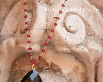 MORA necklace with faceted onyx cabochon and rosary ruby jade chain-sterling silver findings-semiprecious stones and rosary chain