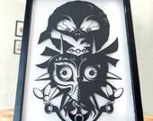 Legend of Zelda Majoras Mask // shadow cut hand cut paper craft shadow box 3D framed wall art