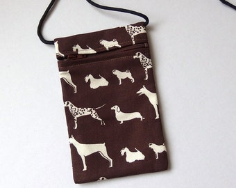 Pouch Zip Bag DOG Fabric. Great for walkers, markets, travel. Cell phone pouch. small Brown fabric purse.  Doberman Dalmation Pug.