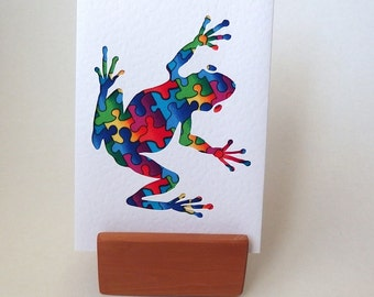 """Frog Card Rainbow Puzzle fabric. 6"""" x 4"""" with envelope. Blank for any occasion. Funky Frog. Hop Hop. Bright frog textured white card."""