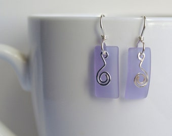 Sterling Silver and Purple Sea Glass Earrings, Long Swirls