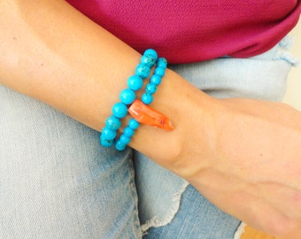 Turquoise bracelet set, gemstone turquoise jewelry, coral charm beaded bracelet mother to be gift ideas gift best friend birthday gift
