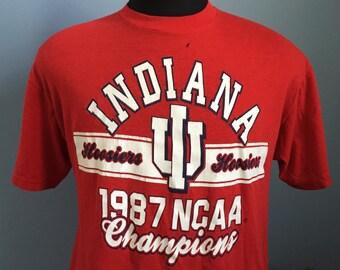 80s Vintage Indiana Hoosiers University 1987 NCAA Champions T-Shirt - XL X-LARGE 46-48