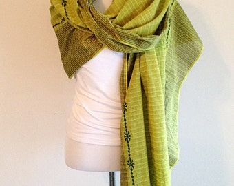 Lovely Lime Green Tribal Scarf Hippie Boho Wrap Shawl