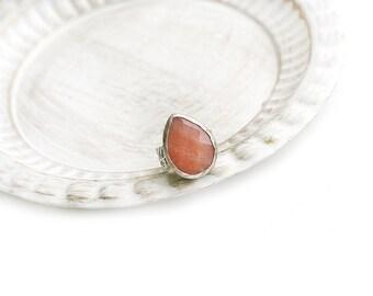 Adjustable Orange Drop Jade Stone Silver Plated Ring