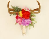 Custom Boho Deer Skull for Heather - Flowers Antlers Color Natural Decor Wall Hanging Decoration Home Accessory Animal Bone Taxidermy
