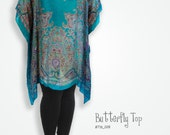 Bright blue turquoise handmade clothing scarf top, caftan beach coverup, maternity tunic, oversized shirt, plus size caftan, cover up swim
