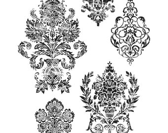 Damask Stamps, Tim Holtz Cling Stamps, Baroque Stamps, Flourish Stamps, Art Stamps, Ornamental Stamps, Decorative Stamps