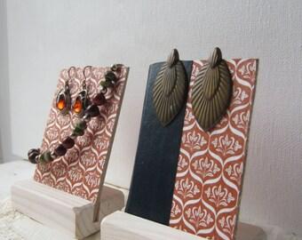 Pair Earring / Bracelet Displays - Burnt Orange Vintage Print - Recycled Vintage Book Jewelry Display - Ready to Ship