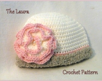 Crochet PATTERN Baby Hat PATTERN The Laura Hat Cloche Pattern Crochet Pattern Baby Hat Pattern Crochet Cloche Pattern Baby GIrls Hat Pattern
