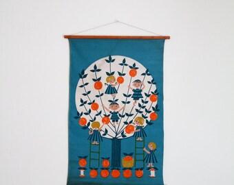Vintage Aase Og Preben Jangaard Danish Wall Hanging Textile Art Orange/Apple Tree Children Denmark Blue