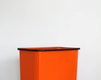Vintage Lawson Metal Orange Waste Basket Rectangle Shape Retro 1960's