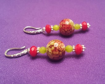EARRINGS: Gorgeous Red and Green Dangle Pierced Earrings Sterling Silver