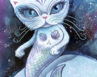 The Purrrmaid - cat art, small art print, hybrid animal, digital art print, small wall art, mini art print, trippy art, mermaid art