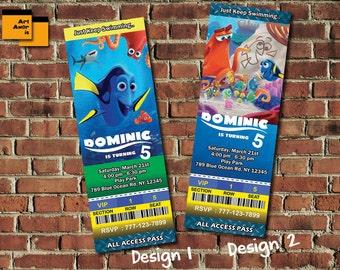 Ticket Finding Dory Birthday Invitations, Dory Invitation, Finding dory Invitation, Nemo Birthday Invitation, Ticket Invites TF-15