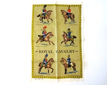 Vintage Irish Souvenir Tea Towel with Royal Cavalry Soldiers and Horses