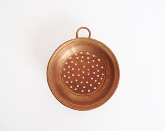 Vintage French Doll / Dollhouse Miniatures - Copper Cookware / Colander