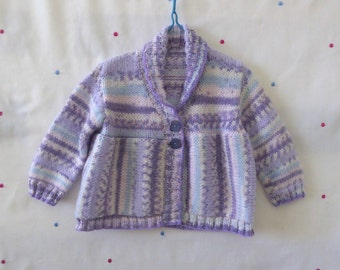 Handknit cardigan for baby girl 6 months, baby sweater, handknitted purple and blue
