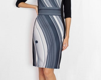 Saturn Rings Dress, Astronomy Dress, Planet Geek Clothing, Solar System Wear, Gray Comfortable Dress, Space Dress