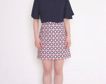 A-line skirt, mini skirt, skirt, tile print, pink, blue, white, summer skirt, cotton skirt, womens skirt, summer fashion, retro print
